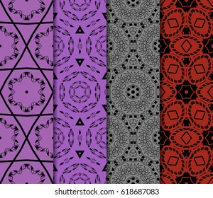 set of decorative geometric floral pattern. seamless vector illustration. for wallpaper, invitation, fabric textile