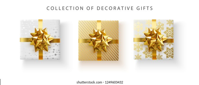 Set of decorative gift boxes with golden satin bow isolated on white background. Top view. Festive design for birthday, New Year, Christmas gifts. Vector illustration.