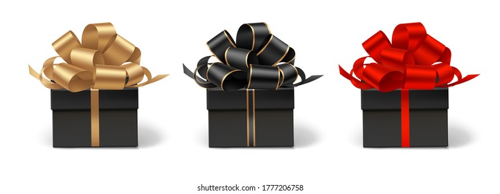 Set of decorative gift boxes isolated on white. Holiday decoration. Black friday sale collection. Vector illustration.