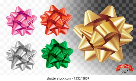 Set of decorative glossy gold bows for holiday gift. Shiny ribbons isolated on white. Vector bowknot for page decoration, postcard, greeting card, sale ads or web design. Wrap decoration for christmas
