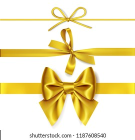 Set of decorative golden bows with horizontal yellow ribbon isolated on white background. Vector illustration. Holiday decorations