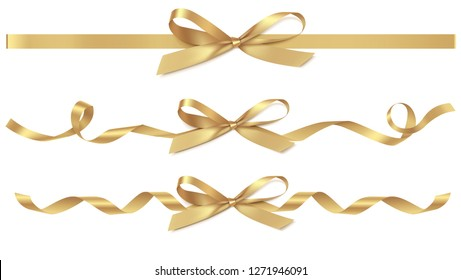 Set of decorative golden bows with horizontal gold ribbons isolated on white. Vector yellow gift bow with curled ribbon for page decor. New year holiday decorations