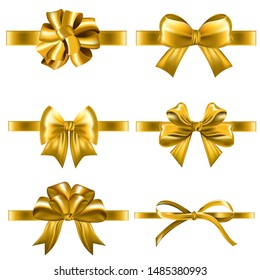 Set of decorative golden bows with horizontal yellow ribbon isolated on white background. Holiday gift decoration, shiny sale ribbons collection. Realistic vector illustration