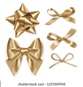 Set of decorative golden bows isolated on white background. Vector illustration. Holiday decorations