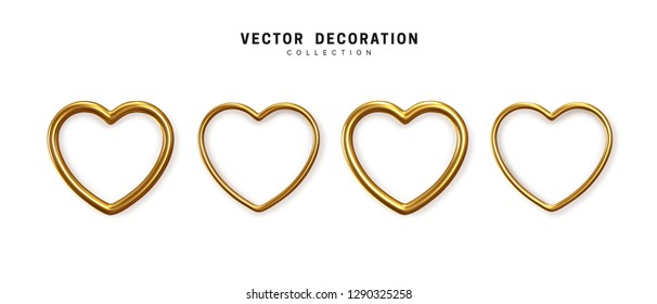 Set of decorative golden hearts isolated on white background