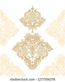 Set of decorative golden ornaments on white background
