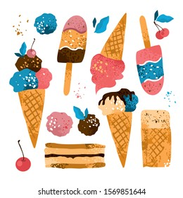 Set with decorative handdrawn types and varieties of ice cream on a white background. The items for the menus of cafes and restaurants, invitations, stickers in the window, card. Vector illustration.