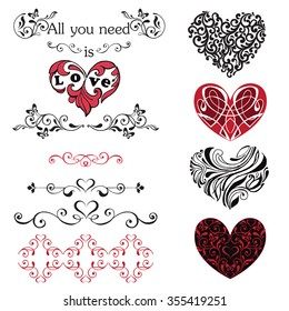Set of decorative hearts, vignettes. Red and black hearts isolated on white background.