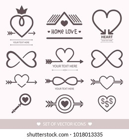 Set decorative icon for Valentine's Day. Graphic romantic element Heart and arrow.  Decoration for the wedding. Logo love vector illustration