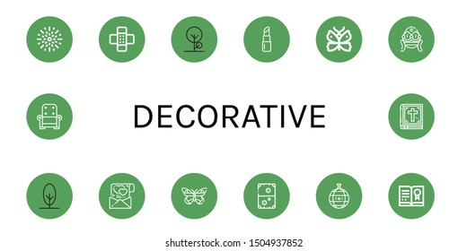 Set of decorative icons such as Fireworks, Patch, Tree, Lipstick, Butterfly, Faberge, Love letter, Air hockey, Disco ball, Certificate, Armchair, Bible , decorative