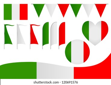 A set of decorative Italian flag