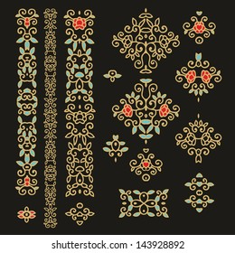 Set of decorative laced elements - vector floral vignettes, patterns, border decor with red flowers
