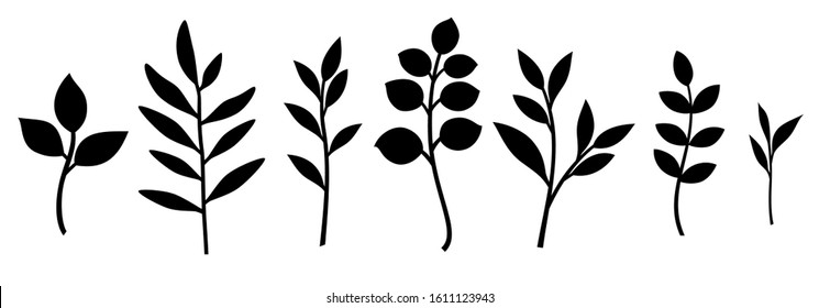Set of decorative leaf silhouette. Different vector branches. Simple stencils. Stock illustration