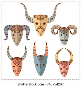 Set with decorative masks of animals. Freehand drawing. Can be used for scrapbook, banner, print, etc.