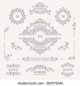Set of decorative monograms, borders, frames, corners.  Design collection for  labels, invitations, logos, banners, posters, badges, signage, stickers, cards. Graphic design page.