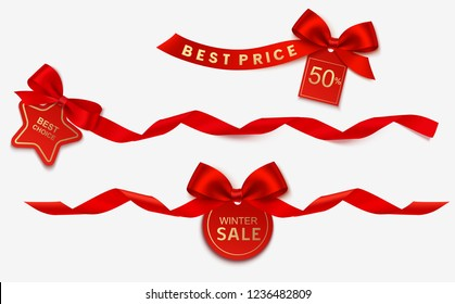 Set of decorative New Year or Christmas Sale tags with red ribbon and bow isolated on gray background. Vector illustration. Holiday decoration
