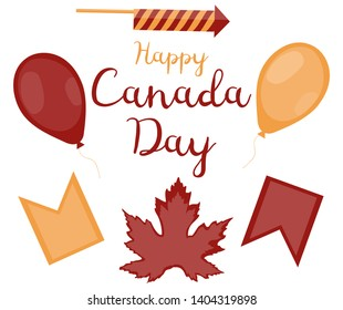 Set of decorative objects for Canada Day. Red balloon, yellow balloon, red flag, yellow flag, squib, maple leaf and the inscription on a white background. Vector.
