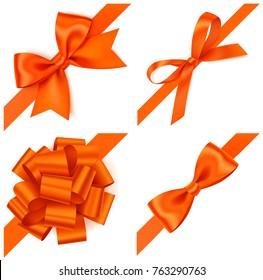 Set of decorative orange bows with diagonally orange ribbon on the corner. Vector orange bow isolated on white. Autumn design elements
