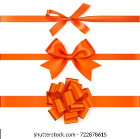 Set of decorative orange bows with horizontal orange ribbons isolated on white background. Beautiful autumn bow with ribbon. Vector illustration