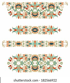 Set of decorative oriental vector patterns, vignettes, ornaments on white background