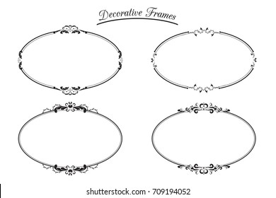 Set Decorative Oval Frames.Design Element Vector Illustration.