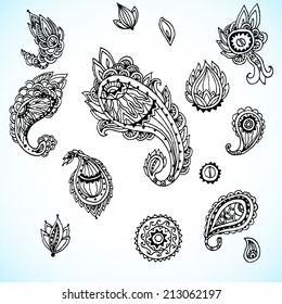 set of decorative paisley elements