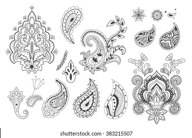 Set of decorative paisley templates