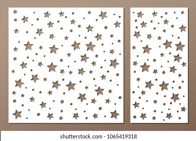 Set decorative panel laser cutting. wooden panel. Elegant modern geometric abstract holiday pattern. Stencil. Ratio 1:2; 1:1. Vector illustration.