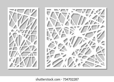 Set decorative panel laser cutting. wooden panel. Elegant modern geometric abstract pattern. Ratio 1:2, 1:1. Vector illustration.