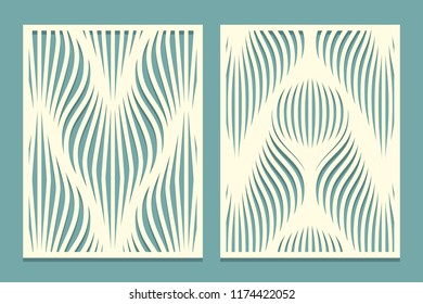 Set of decorative panels for cutting paper cards, design elements, scrapbooking and other. Geometric wavy line pattern. Laser cut. Vector illustration.
