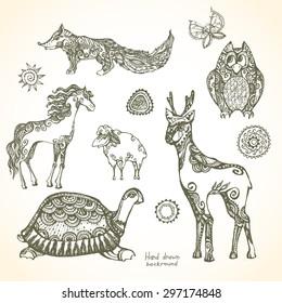 Set of decorative patterned animals