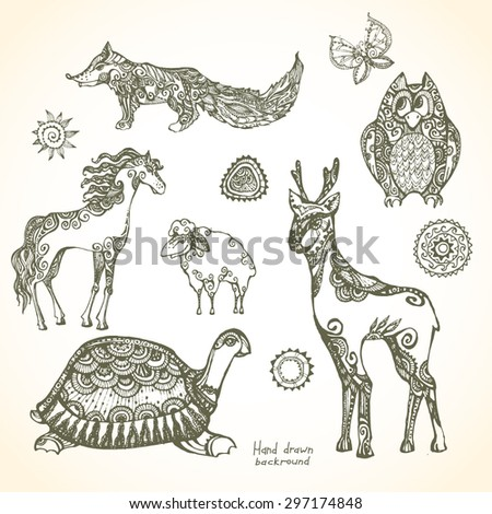 Set Decorative Patterned Animals Stock Vector Royalty Free Awesome Patterned Animals