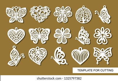Set of decorative pendants. Decor in shape openwork butterflies, clover leaves, round tree of life and lace hearts. Template for laser cutting, wood carving, paper cut or printing.