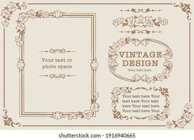 Set of decorative photo frames and ornaments, dividers with flowers in vintage style. Vector illustration.