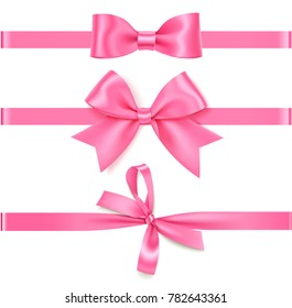 Set of decorative pink bow with horizontal pink ribbon for gift decor. Realistic vector rose bow and ribbon isolated on white background. Mother's Day decorations