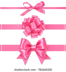 Set of decorative pink bow with horizontal pink ribbon for gift decor. Realistic vector bow and ribbon isolated on white background. Mother's Day holiday decorations