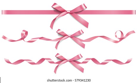 Set of decorative pink bows with horizontal ribbons isolated on white. Vector bow