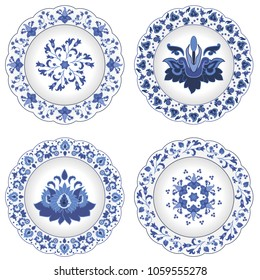 Set of decorative porcelain plates ornate with traditional blue floral pattern  in Russian style Gzhel with oriental elements and exotic flowers with leaves. Vector illustration, isolated object.