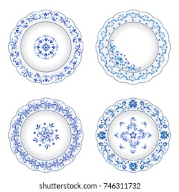 Set of decorative porcelain plates ornate with blue floral ornament pattern in traditional Russian style Gzhel with vintage elements. Isolated object, white plate with blue paint. Vector illustration