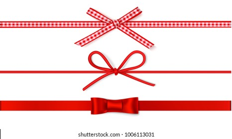 Set of decorative red bows with horizontal ribbon for gift decor. Holiday decorations. Vector bow and ribbon isolated on white