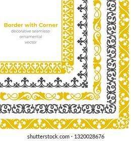 Set of decorative seamless ornamental border with corner - Vector