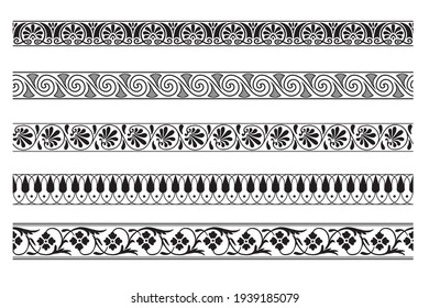 Set of decorative seamless ornamental border - Vector modular