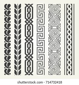 Set of decorative seamless ornamental border