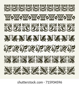 Set of decorative seamless ornamental border
