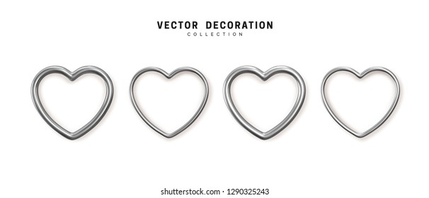 Set of decorative silver hearts isolated on white background