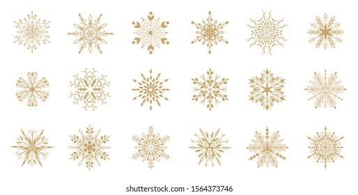 Set of  decorative  snowflakes. Snowflakes icon. Vector illustration.