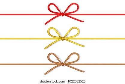 Set of decorative string bow with horizontal thin rope isolated on white background. Vector twine with a bow