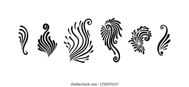 Set of decorative swirls. Calligraphic elements with brush strokes, black vector isolated on white background. Curves, curls, flourishes graphic art design.