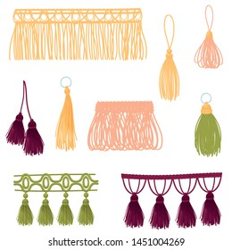 Set of decorative tassels. Vector illustration on white background.