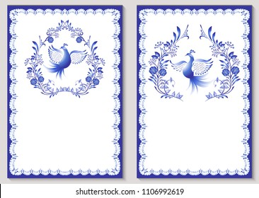 Set of decorative templates for greeting card or invitations with ornaments in the style of traditional porcelain painting. Blue pattern with flowers and birds on white background. Vector illustration